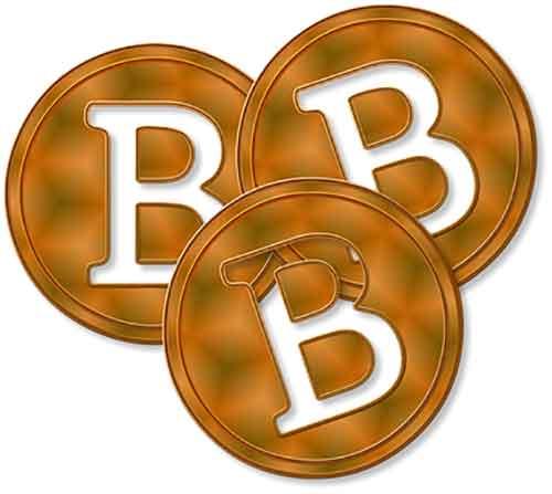Ein Stapel Bitcoin